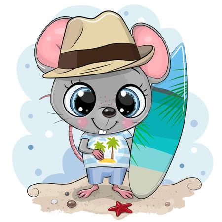 Cute cartoon Mouse boy with a surfboard on the beach Ilustrace