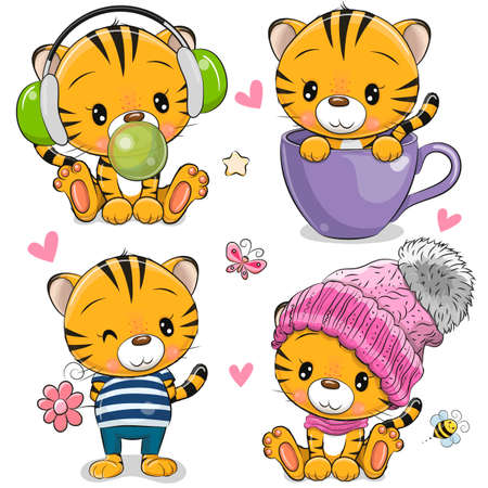Set of Cute Cartoon Tigers isolated on a white background
