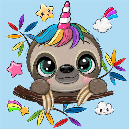 Cute Cartoon Sloth with Unicorn Horn a blue background