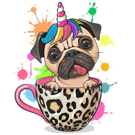 Cute Cartoon Pug dog with Unicorn horn is sitting in a Cup