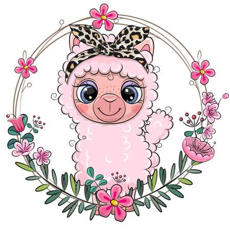 Cute Cartoon Alpaca with a floral wreath