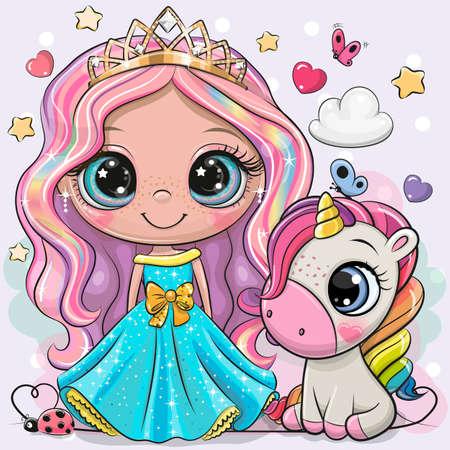 Greeting Card with Cute Cartoon fairy tale Princess and Unicorn