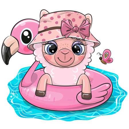 Cute Cartoon Alpaca in swimming on pool ring inflatable flamingo Ilustrace