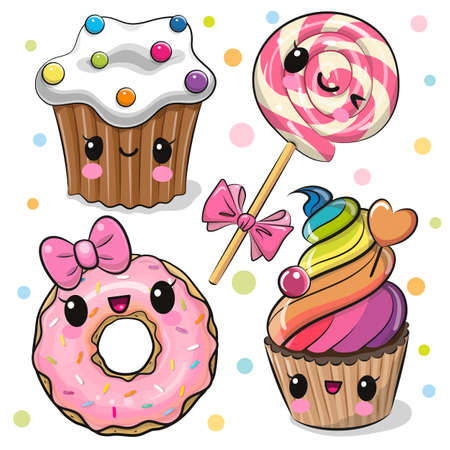Set of Cute Cartoon sweets with eyes on the white background