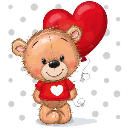 Drawing Teddy bear in a red sweater with a red balloon