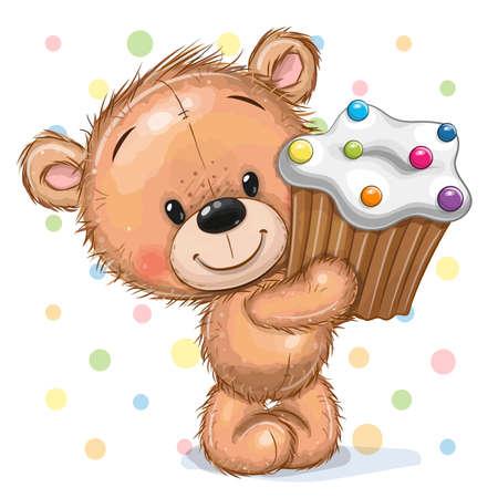 Cute Cartoon Teddy Bear with Cupcake on a dots background Ilustrace