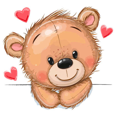 Cute Drawing Teddy bear on a white background