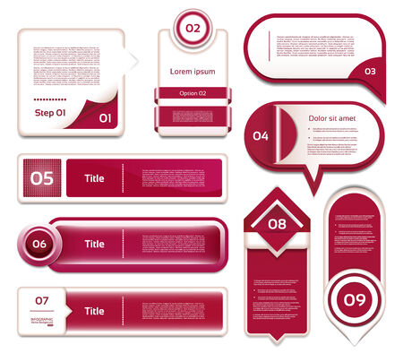 Set of red-violet vector progress, version, step icons. eps 10 Vector