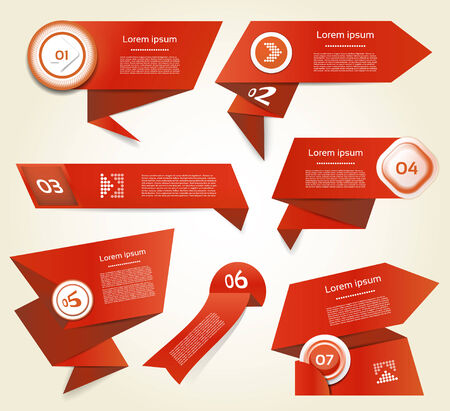 Set of red vector progress, version, step icons  eps 10 Vector