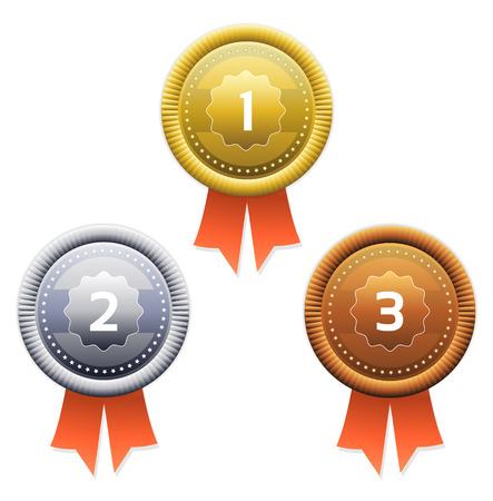 1 place: Premios de oro, plata y bronce Vector
