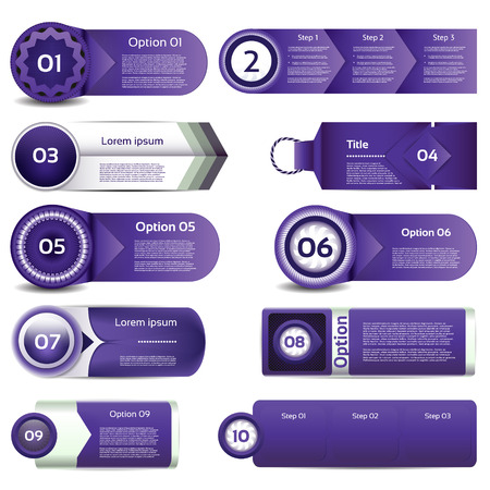 Set of violet vector progress, version, step icons  eps 10 Vector