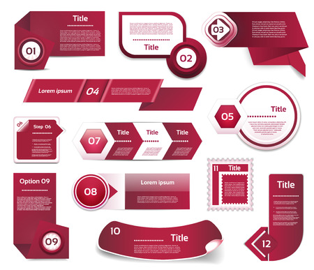 elements design: Set of Red-Violet vector progress, version, step icons