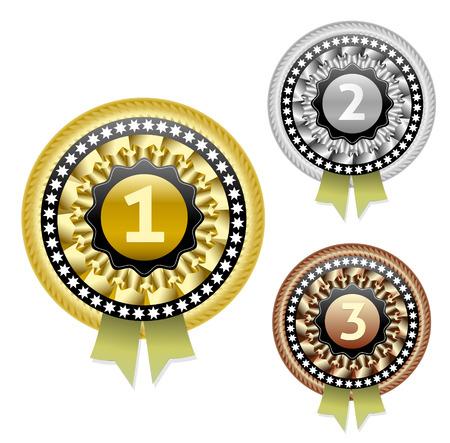 1 place: Oro, plata y bronce conjunto de vectores Vectores