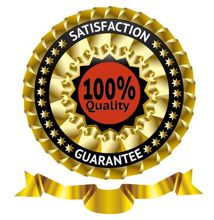 metalic design: Satisfaction guarantee vector label with ribbon