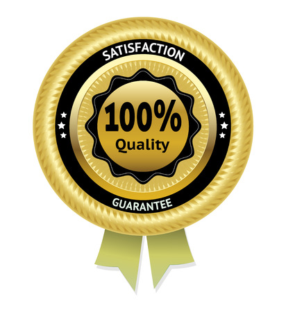 Satisfaction guarantee gold vector label.  Vector