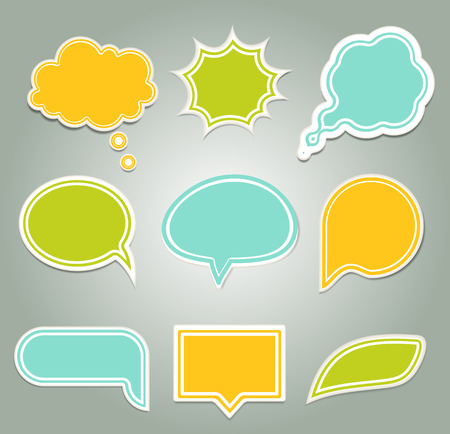 feedback sticker: Set of colorful speech bubbles.