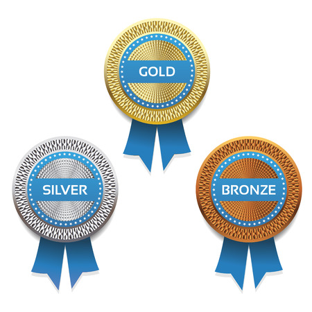 silver medal: Gold, silver and bronze awards  Vector  eps 10