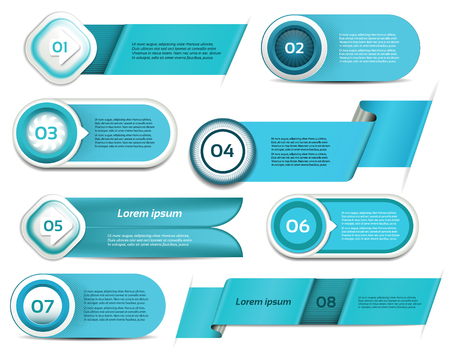 Set of blue vector progress, version, step icons   Vector