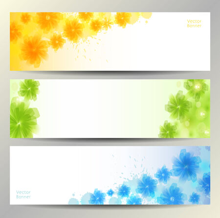 green plants: Abstract Flower Vector Background   Brochure Template   Banner