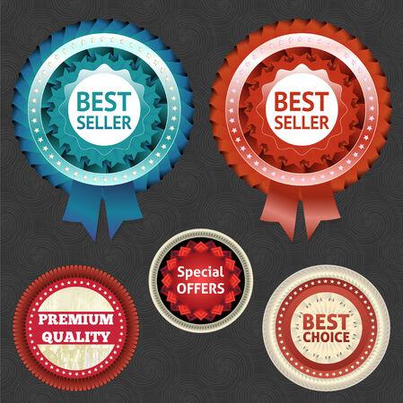 best seller: Bestseller und Wahl-Etiketten mit Band Illustration