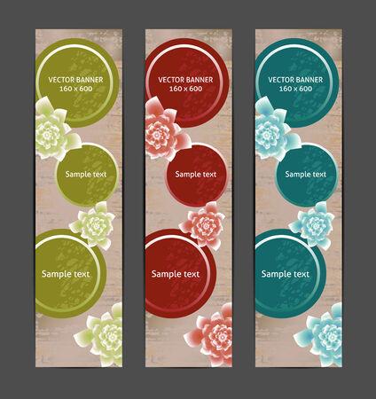 Vertical Floral Banner   Bookmark   background  eps 10 Vector