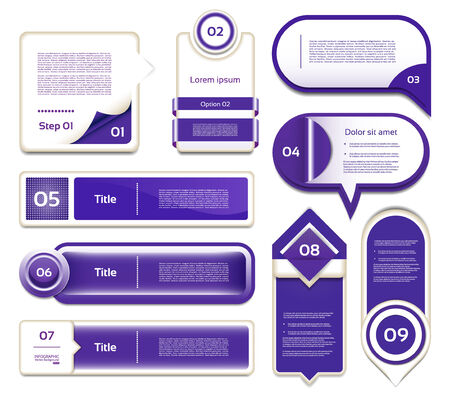 Set of blue-violet vector progress, version, step icons  eps 10 Vector