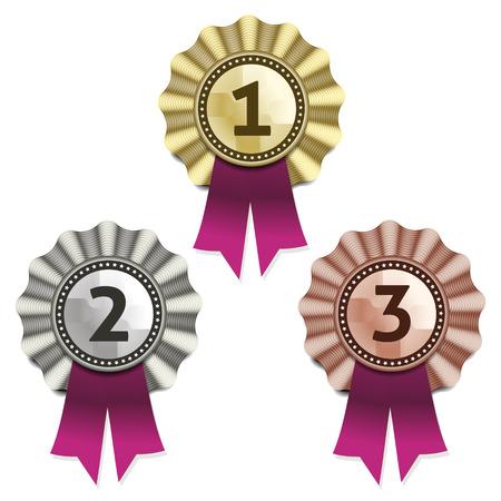 award ribbon: Gold, silver and bronze awards  Vector