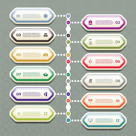 fl: Vector Progress Background. Product Choice or Version Illustration
