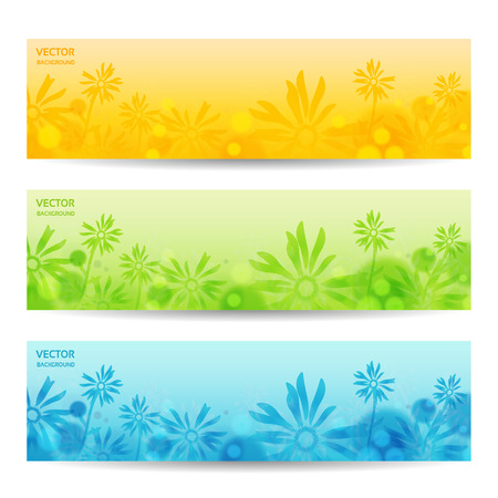 horizontal banner: Abstract Flower Vector Background  Brochure Template  Banner.  Illustration