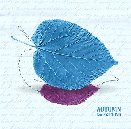 lindeboom: Herfst achtergrond met bladeren. Linden in blauw en paars. Geschreven tekst op de achtergrond. Vector illustratie. Stock Illustratie