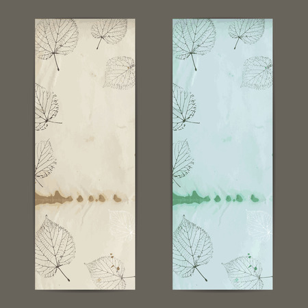 linden: Two vintage autumn banner with linden leaves