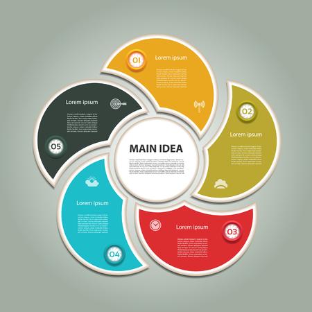 cíclico: Diagrama cíclico con cinco pasos e iconos. Resumen de vectores de Infografía.