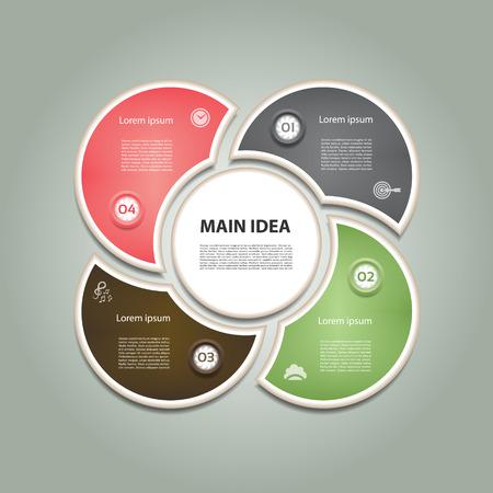 c�clico: Diagrama c�clico con cuatro pasos e iconos. Resumen de vectores de Infograf�a.