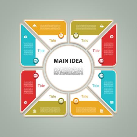 c�clico: Diagrama c�clico con ocho pasos e iconos. Resumen de vectores de Infograf�a.
