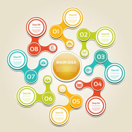cíclico: Diagrama cíclico con ocho pasos e iconos. Vectores