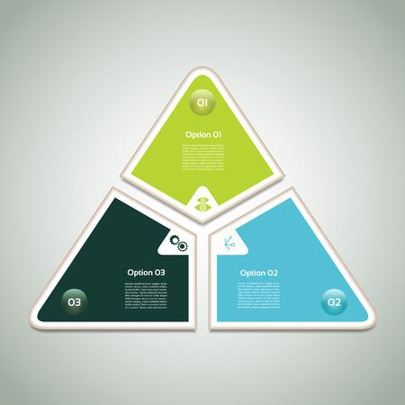 cíclico: Diagrama cíclico con tres pasos y los iconos. eps 10