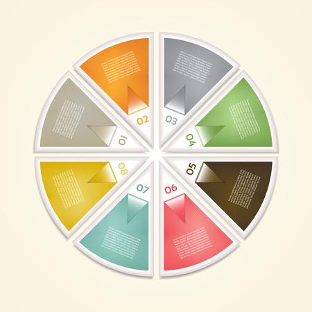 cíclico: Diagrama cíclico con ocho pasos. eps 10
