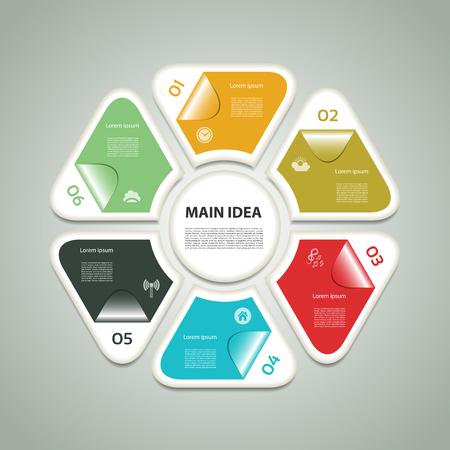 Schéma cyclique avec six étapes et les icônes. eps 10