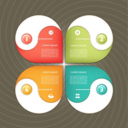c�clico: Diagrama c�clico con cuatro pasos e iconos