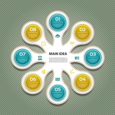 c�clico: Diagrama c�clico con ocho pasos y los iconos