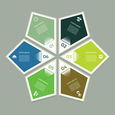 c�clico: Diagrama c�clico con seis pasos y los iconos