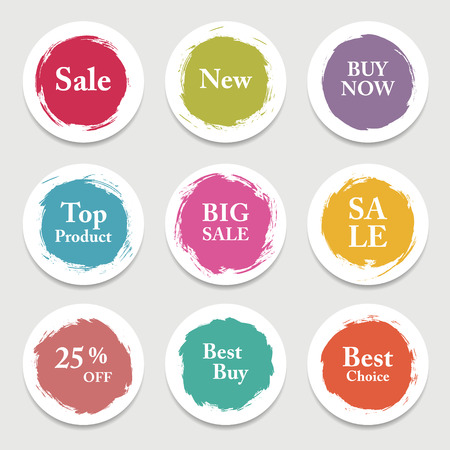 label design: Colorful vector paper circle, sticker, label, banner with brush strokes.