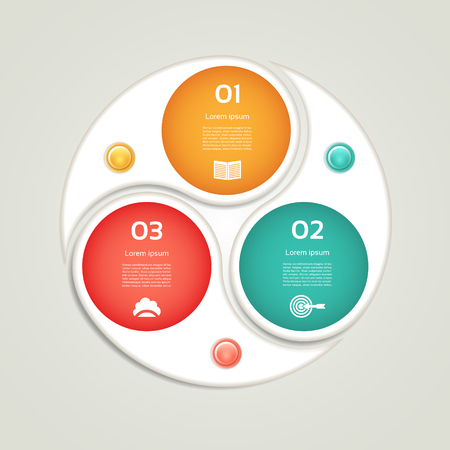 cyclic: Cyclic diagram with three steps and icons.  Illustration