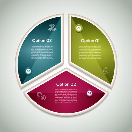 cíclico: Diagrama cíclico con tres pasos y los iconos.