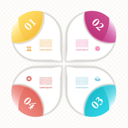 c�clico: Diagrama c�clico con cuatro pasos e iconos.