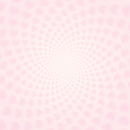 valentinas: Twisted hearts with tunnel effect. Vector light pink hearts wallpaper.  Pink heart tunnel wallpaper.
