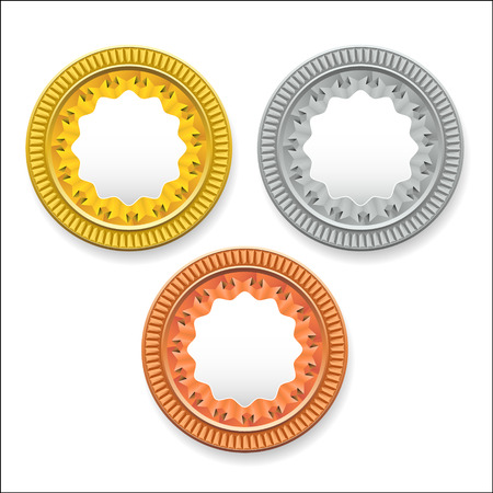 vector round empty medals of gold silver bronze. It can be used as coins buttons icons Vettoriali