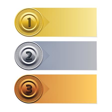 Antecedentes del vector de progreso. Bandera del oro plata bronce. Ilustración de vector
