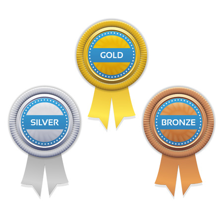 1 place: Gold, silver and bronze awards. Vector.