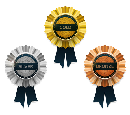 gold silver: Gold, silver and bronze awards. Vector.